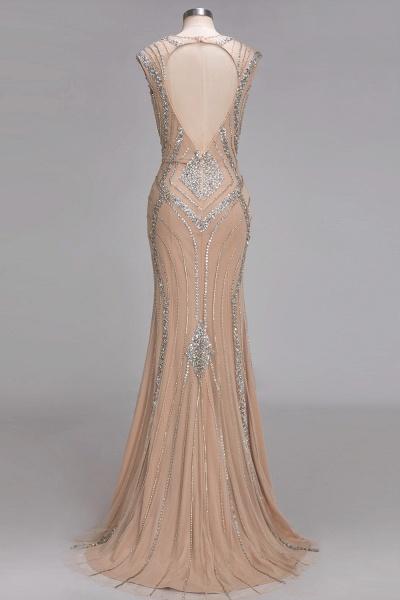 NAN | Mermaid V-neck Floor Length Sleeveless Sequins Prom Dresses_3