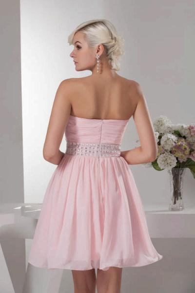 KRISTINA | A Type Heart Collar Chiffon Bridesmaid Dress with Rhinestone_6