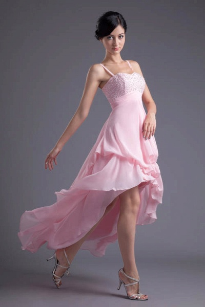 LEA | A Type Heart-shaped Short Before Long Sleeveless Chiffon Candy Pink Bridesmaid Dress with Fold_3