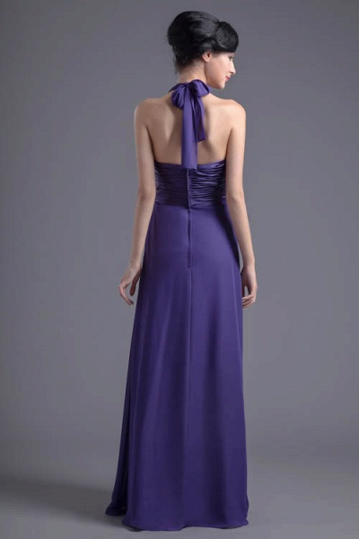 Sleek Halter Chiffon A-line Bridesmaid Dress_3
