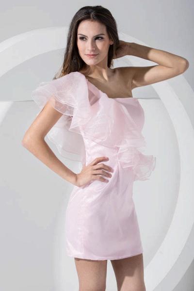 LAILA | A Type Shoulder Knee Length Sleeveless Chiffon Pink Bridesmaid Dress with Cross_7