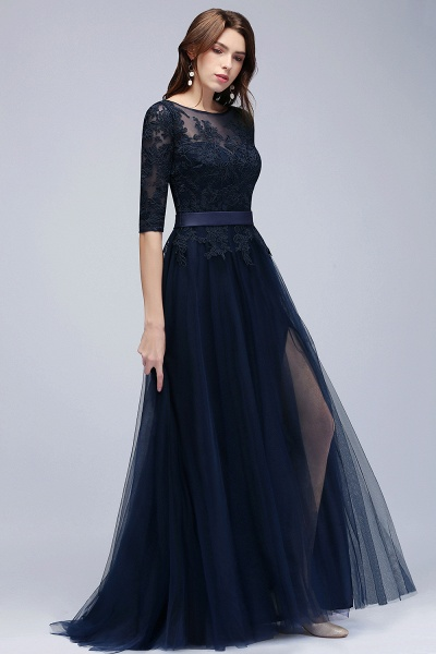 BMbridal Elegant Navy Half-Sleeves Lace Bridesmaid Dresses with Appliques_3