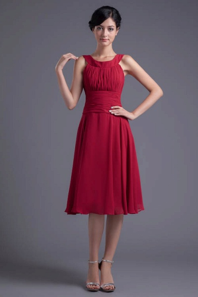 KYLIE | A Type Wide Shoulder Straps Chiffon Bridesmaid Dress with Zip?_8