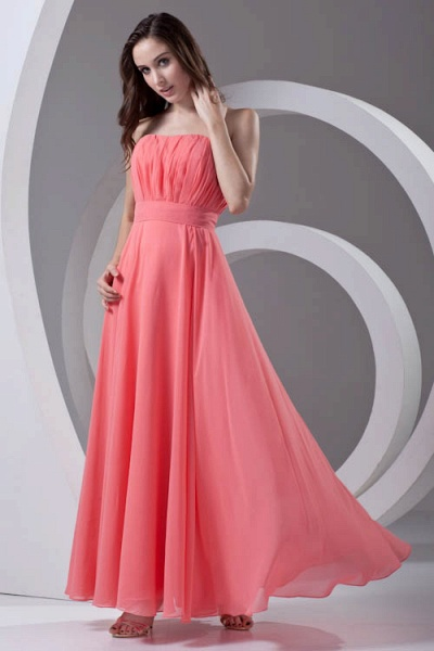 LILIAN | A-line Strapless Sleeveless Floor Length Chiffon Bridesmaid Dresses_1