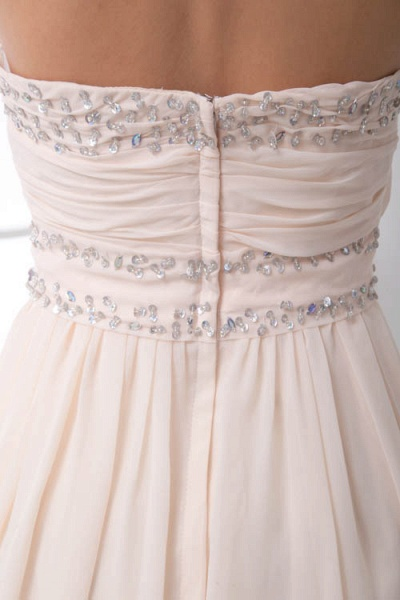LEIA | A Type Bra Long Sleeveless Chiffon White Bridesmaid Dress with Small folds_9