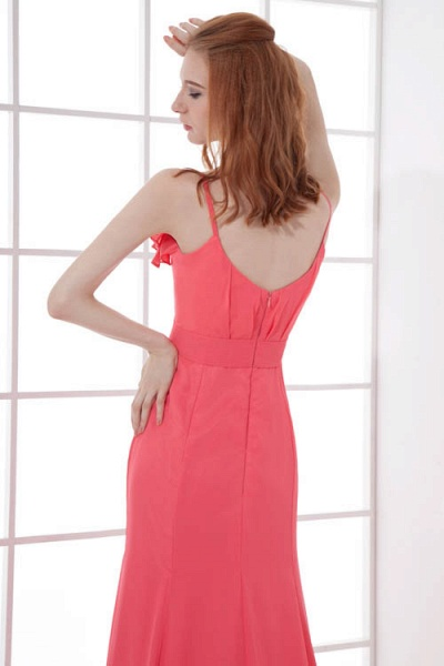 LEAH | A Type V-neck Drag To Long Sleeveless Chiffon Watermelon Red Bridesmaid Dress with Front Split_8