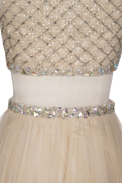 OPHELIA | A-line Two-piece Floor Length Sleeveless Tulle Prom Dresses with Crystals_8