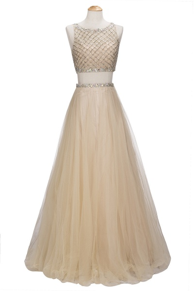 OPHELIA | A-line Two-piece Floor Length Sleeveless Tulle Prom Dresses with Crystals_5