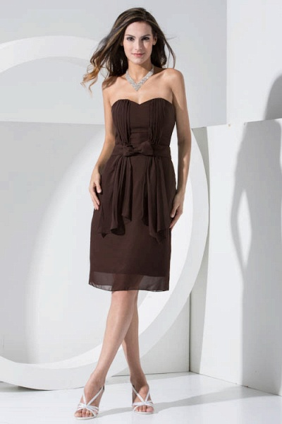 LACEY | A Type Heart-shaped Collar Knee Length Sleeveless Chiffon Chocolate Color Bridesmaid Dress with Bow Tie_1