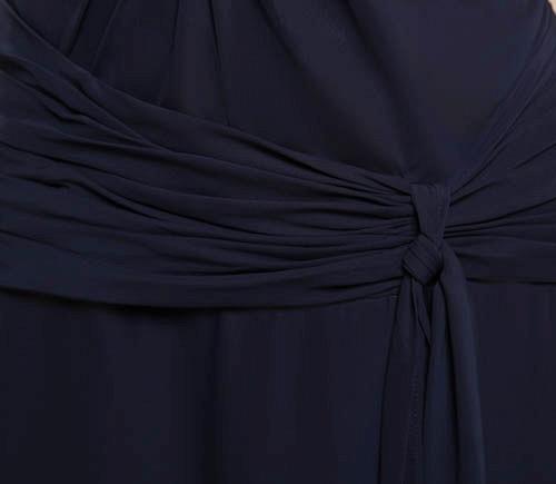 KIMORA | A Type V-Neck Chiffon Navy Blue Bridesmaid Dress with Fold_8