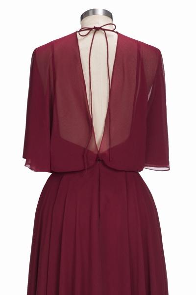 OLGA | A-line V-neck Floor Length Burgundy Chiffon Bridesmaid Dresses_5