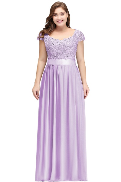 HOLLAND | A-Line Scoop Floor Length Cap Sleeves Appliques Silver Plus Size Evening Dresses with Sash_3