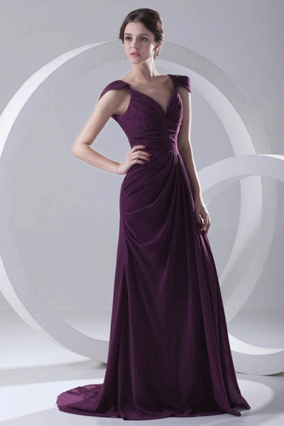 Glorious V-neck Stretch Satin A-line Bridesmaid Dress_6