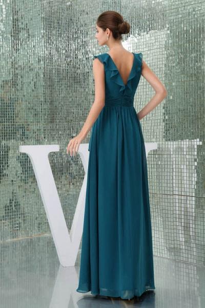 Affordable V-neck Chiffon A-line Bridesmaid Dress_3