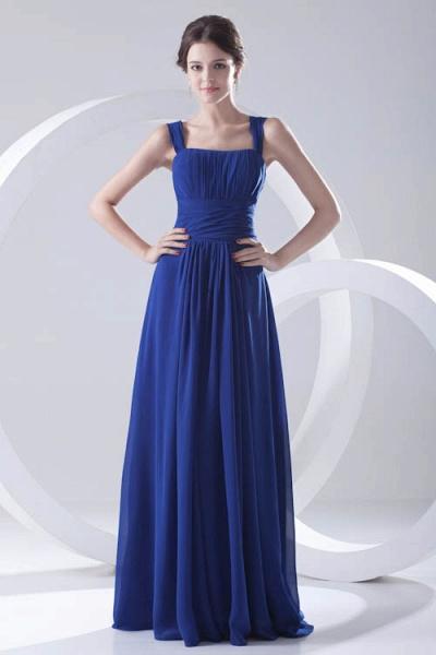 LEIGHTON | A Type A Collar Long SleevelessChiffon Royal Blue Bridesmaid Dress with Small folds_5