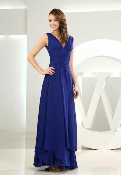 LANA | A Type V-neck Long Sleeveless Chiffon Royal Blue Bridesmaid Dress with Small folds_5