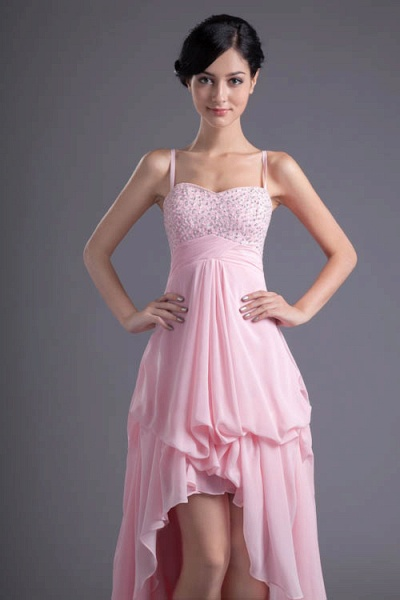 LEA | A Type Heart-shaped Short Before Long Sleeveless Chiffon Candy Pink Bridesmaid Dress with Fold_5
