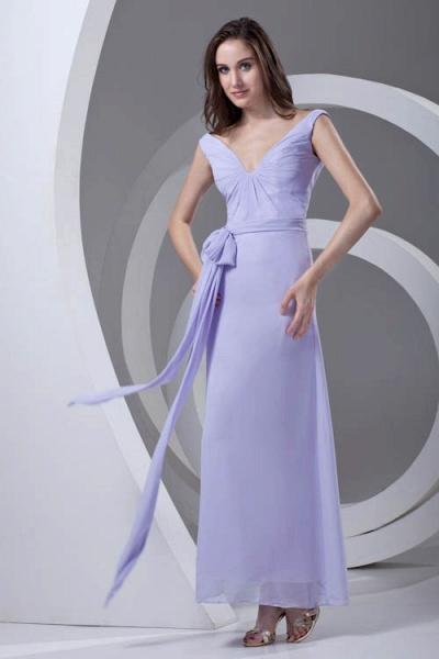 LERUC | A Type V-neck Long Sleeveless Chiffon Lilac Purple Bridesmaid Dress with Belt_4