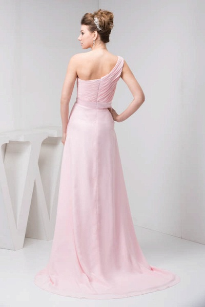 LAUREL | A Type Shoulder Drag To Long Sleeveless Chiffon Pink Bridesmaid Dress with Belt_5