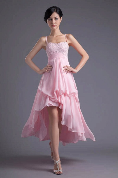 LEA | A Type Heart-shaped Short Before Long Sleeveless Chiffon Candy Pink Bridesmaid Dress with Fold_1