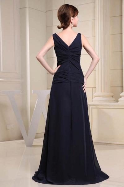 KIMORA | A Type V-Neck Chiffon Navy Blue Bridesmaid Dress with Fold_3