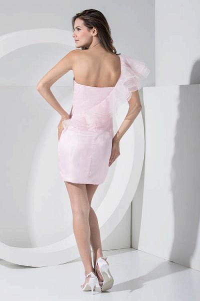 LAILA | A Type Shoulder Knee Length Sleeveless Chiffon Pink Bridesmaid Dress with Cross_6