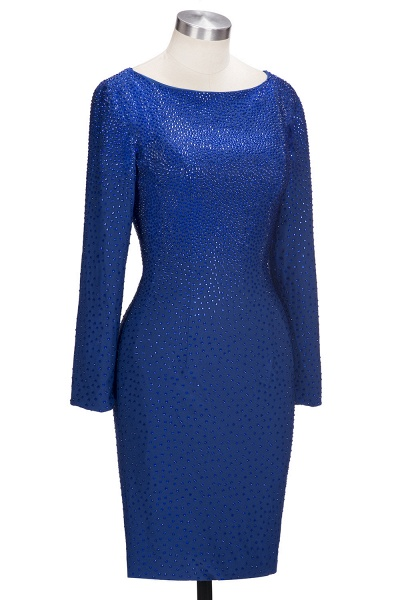 OPAL | Mermaid Long Sleeves Short Crystals Royal Blue Prom Dresses_4