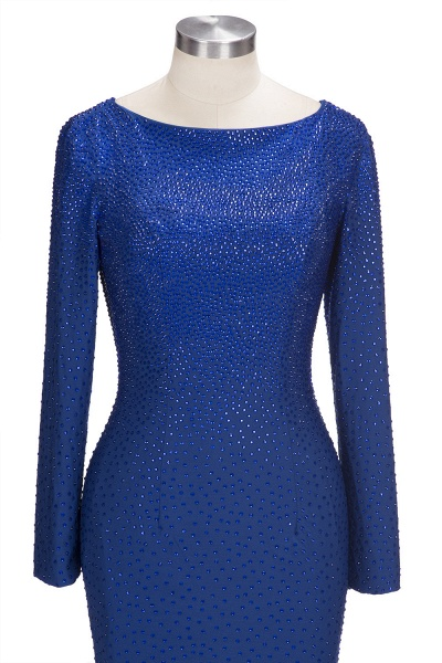 OPAL | Mermaid Long Sleeves Short Crystals Royal Blue Prom Dresses_5