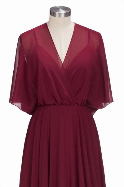 OLGA | A-line V-neck Floor Length Burgundy Chiffon Bridesmaid Dresses_7