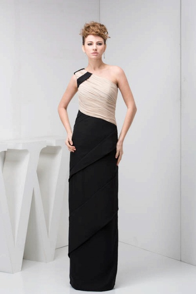 KRISTEN | A Type One Shoulder Black Chiffon Bridesmaid Dress with Fold_1