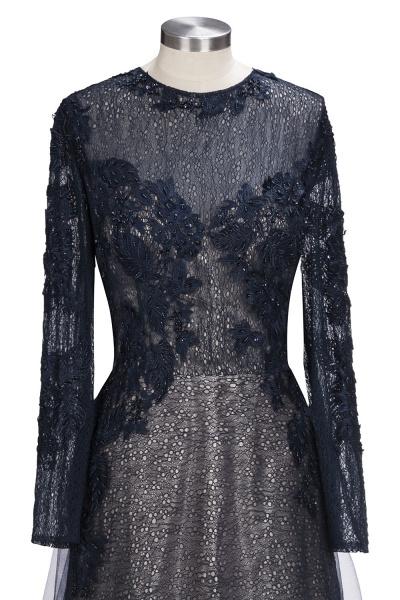 ODETTE | A-line Long Sleeves Floor Length Appliqued Tulle Prom Dresses_7