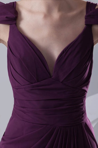 Glorious V-neck Stretch Satin A-line Bridesmaid Dress_8