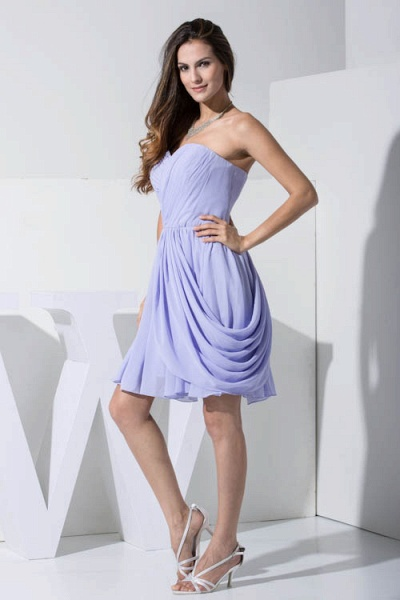 KIMBER | A Type Heart Collar Chiffon Lavender Violet Bridesmaid Dress with Fold_8