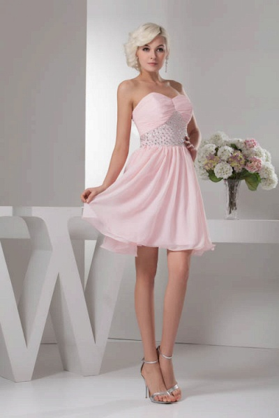 KRISTINA | A Type Heart Collar Chiffon Bridesmaid Dress with Rhinestone_5