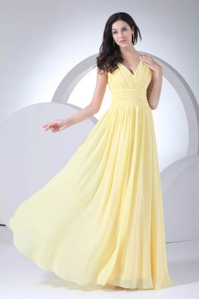 Excellent V-neck Chiffon A-line Bridesmaid Dress_1