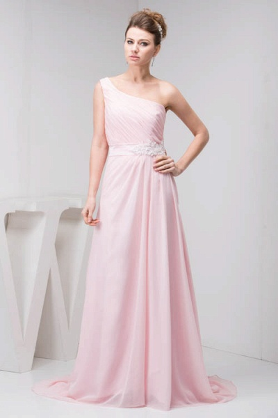LAUREL | A Type Shoulder Drag To Long Sleeveless Chiffon Pink Bridesmaid Dress with Belt_4