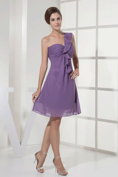 Exquisite One Shoulder Chiffon A-line Bridesmaid Dress_5