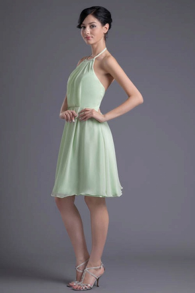 KYLEE | A Type Sector GreenChiffon Bridesmaid Dress with Fold_6