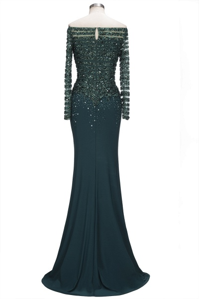 OLYMPIA | Mermaid Long Strapless Long Sleeves Prom Dresses with Sequins and Crystals_3
