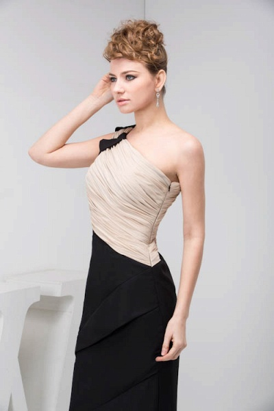 KRISTEN | A Type One Shoulder Black Chiffon Bridesmaid Dress with Fold_3