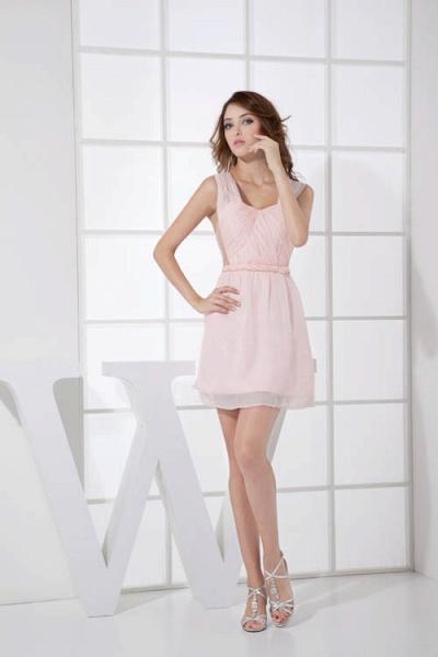 LEONA | A-line Scoop Mini Chiffon Bridesmaid Dresses_5