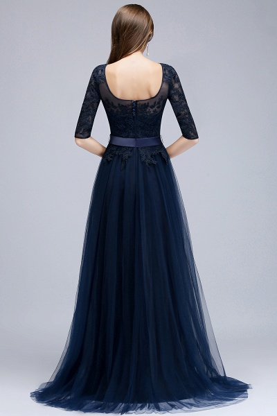 BMbridal Elegant Navy Half-Sleeves Lace Bridesmaid Dresses with Appliques_2