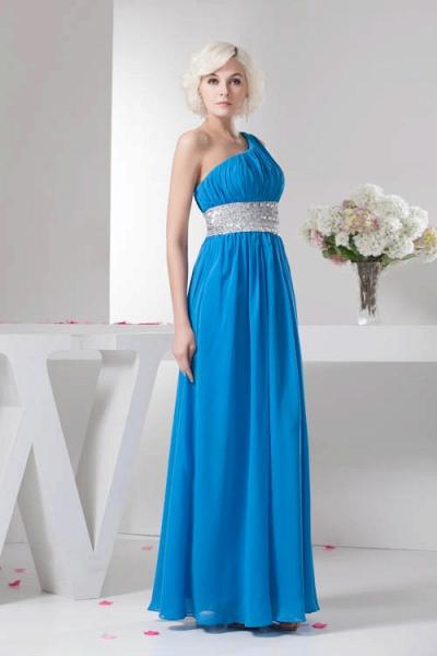 Amazing One Shoulder Chiffon A-line Bridesmaid Dress_8