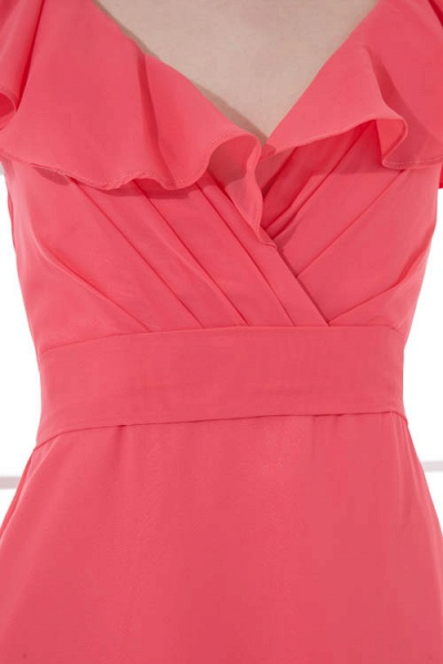 LEAH | A Type V-neck Drag To Long Sleeveless Chiffon Watermelon Red Bridesmaid Dress with Front Split_4