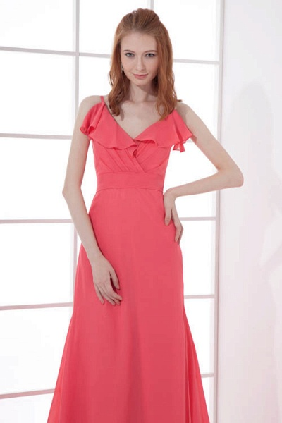 LEAH | A Type V-neck Drag To Long Sleeveless Chiffon Watermelon Red Bridesmaid Dress with Front Split_7