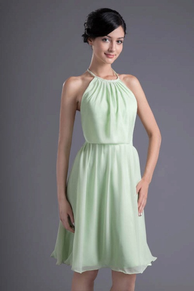 KYLEE | A Type Sector GreenChiffon Bridesmaid Dress with Fold_7
