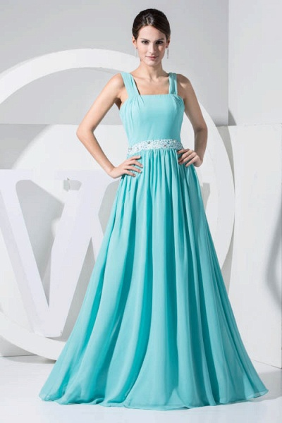 Latest Straps Chiffon A-line Bridesmaid Dress_1