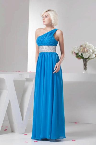 Amazing One Shoulder Chiffon A-line Bridesmaid Dress_7