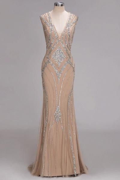NAN | Mermaid V-neck Floor Length Sleeveless Sequins Prom Dresses_1