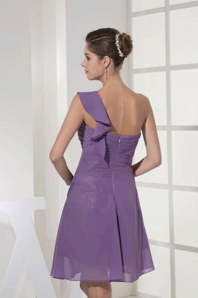 Exquisite One Shoulder Chiffon A-line Bridesmaid Dress_9